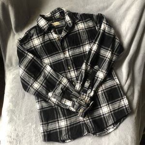 Black and white button-down flannel